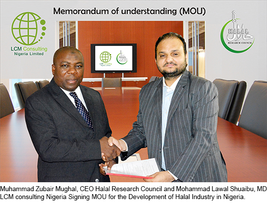 Muhammad Zubair Mughal, CEO Halal Research Council and Mohammad Lawal Shuaibu, MD LCM consulting Nigeria Signing MOU for the Development of Halal Industry in Nigeria