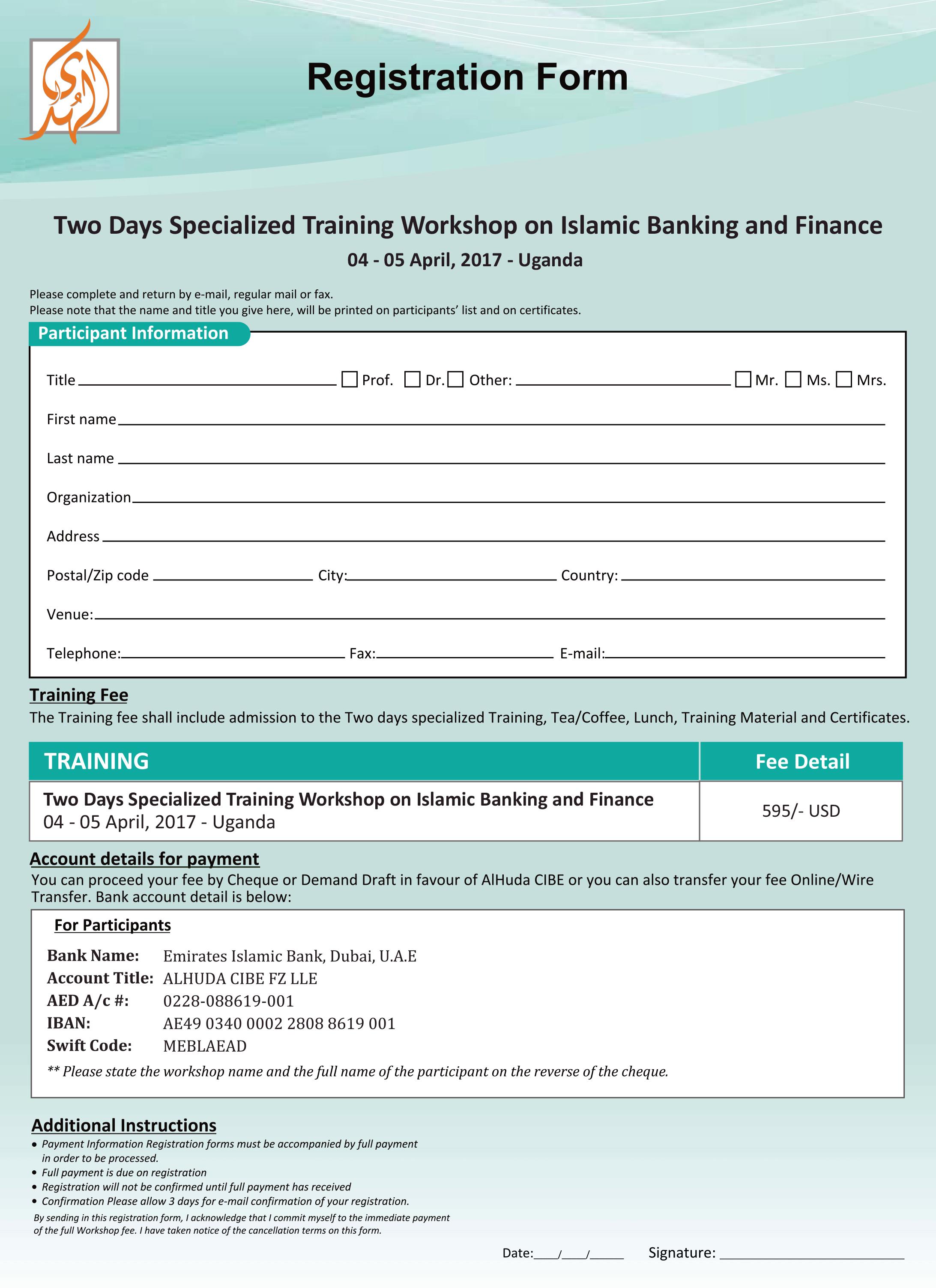 Registration - Two Days Specialized Training Workshop on Islamic ...